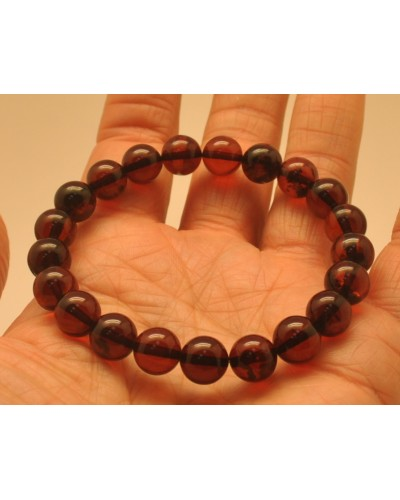 Cherry round beads Baltic amber bracelet  8,9 mm.