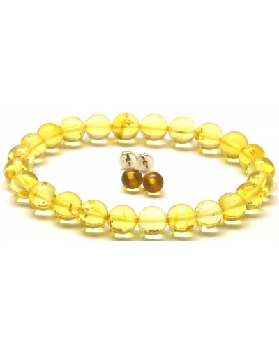 Set of natural transparent round beads amber bracelet  and earrings