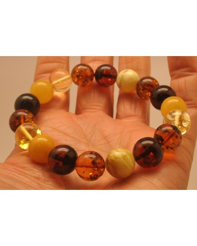 Multicolor round beads Baltic amber bracelet 12 mm.