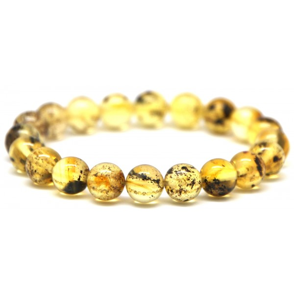 Round beads Baltic amber bracelet 9 mm.-RAU165