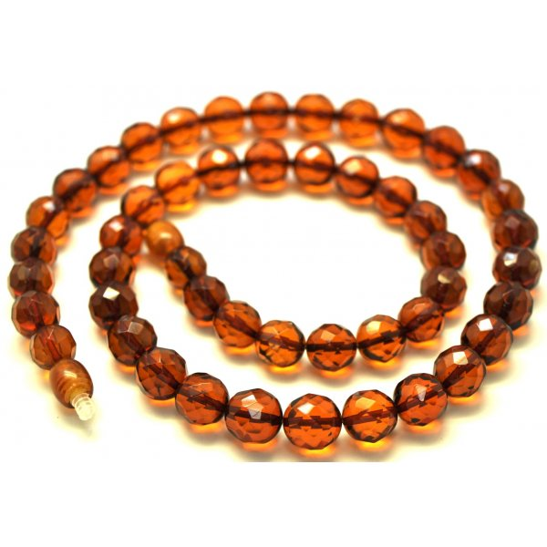 Round beads faceted cognac Baltic amber necklace -RAU228