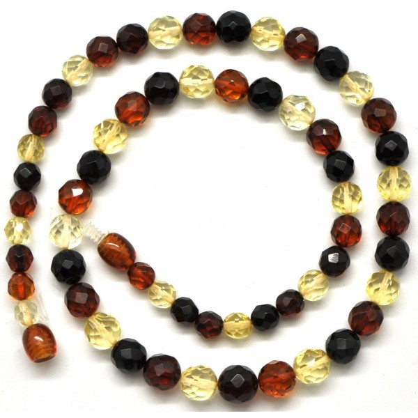 Round beads faceted multicolor Baltic amber necklace -RAU227