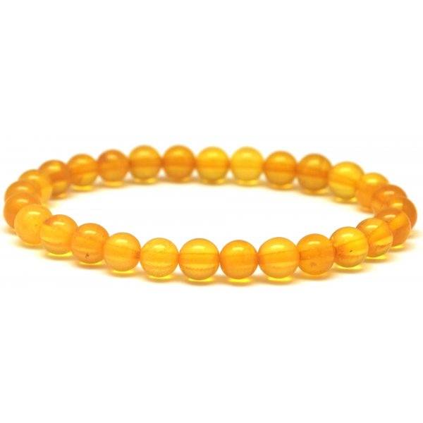 Round beads honey Baltic amber bracelet 7 mm.-RAU530