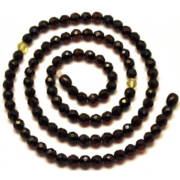 Round beads long faceted Baltic amber necklace -RAU411