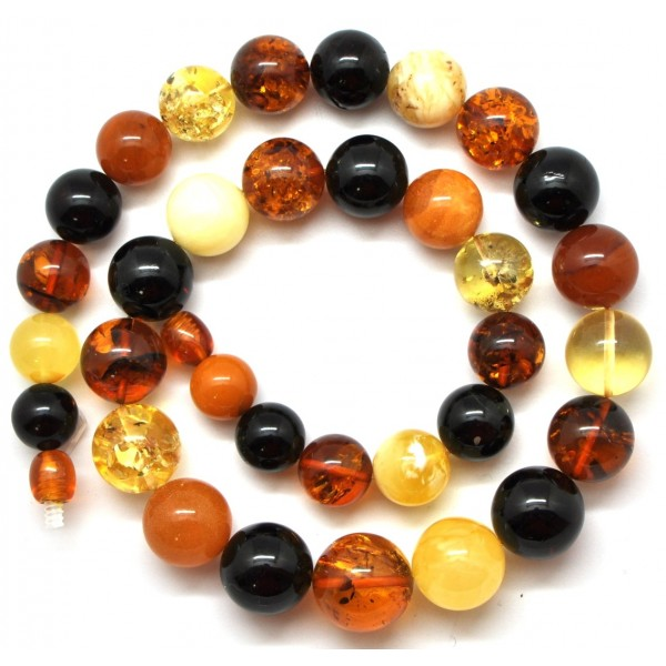 Round beads multicolor Baltic amber necklace 43 g .-RAU201