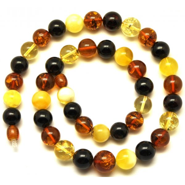 Round beads multicolor Baltic amber necklace -RAU322