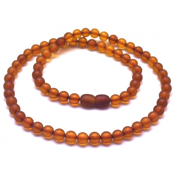 Round beads unpolished cognac Baltic amber necklace-RAU643