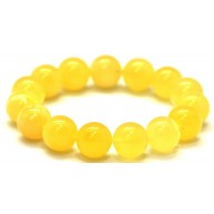 Yellow round beads Baltic amber bracelet  13,8 mm.