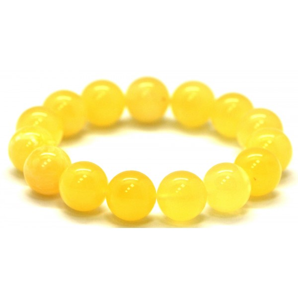 Yellow round beads Baltic amber bracelet 13,8 mm.-RAU309