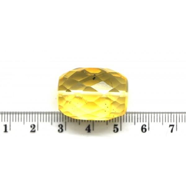 Big drilled Baltic amber faceted barrel shape piece-LA0569