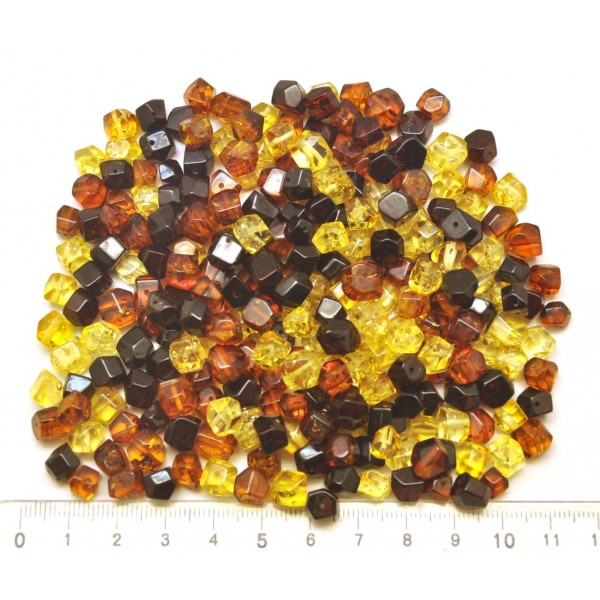 Drilled amber faceted beads 50 g .-LA0685