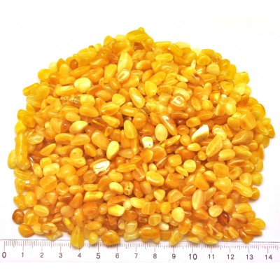 Drilled Baltic amber beans shape peaces 100 g.-LA0681
