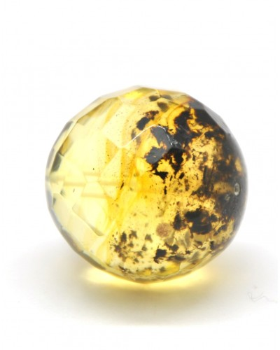 Big drilled Baltic amber faceted round bead with inclusion