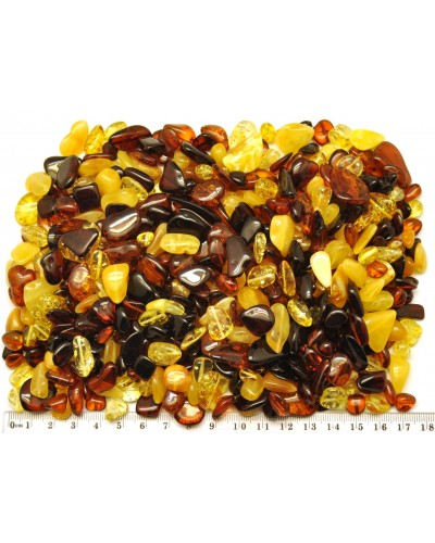 Loose drilled Baltic amber beans shape peaces 200 g.