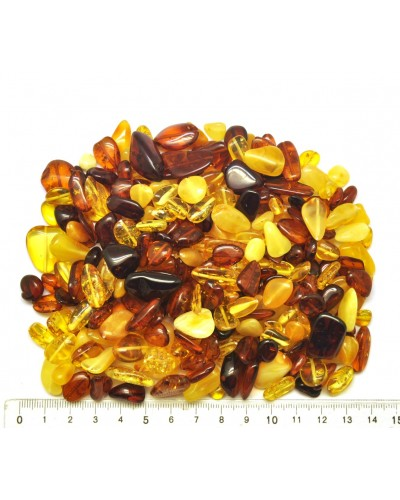 Loose drilled Baltic amber beans shape peaces 100 g.