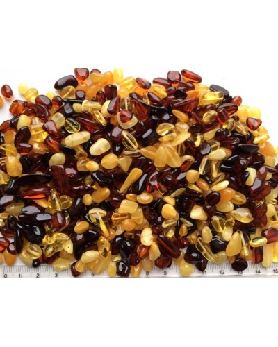 Loose drilled small amber beans shape peaces 100 g.