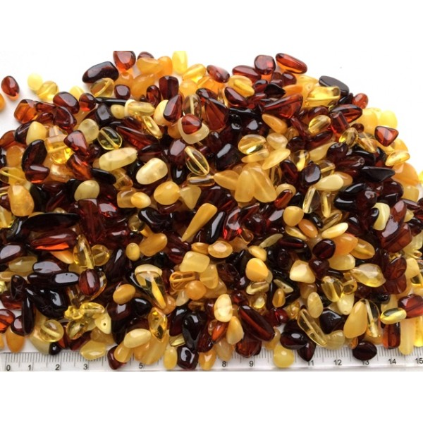 Loose drilled small amber beans shape peaces 100 g.-LA0673
