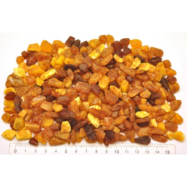 Raw drilled Baltic amber pieces 100 g .-LA0665