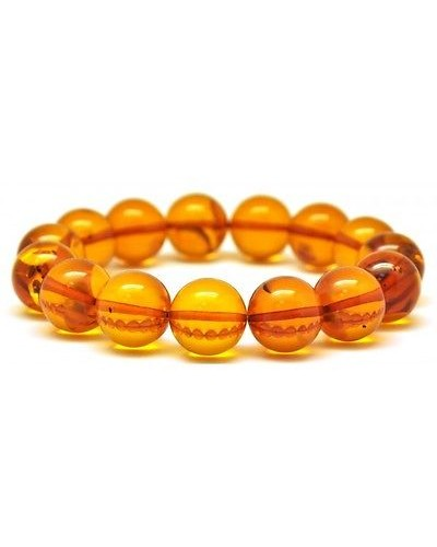 Cognac round beads Baltic amber bracelet 14 mm.