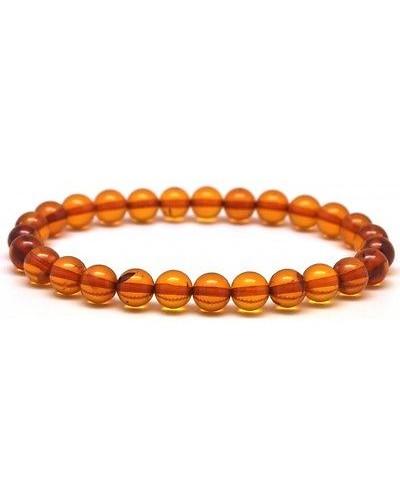 Round beads cognac Baltic amber bracelet 7 mm.