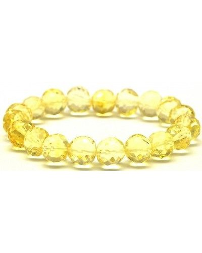 Baroque beads faceted lemon Baltic amber bracelet