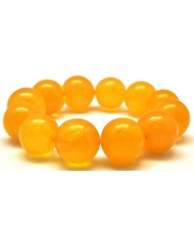 Natural round beads antique color Baltic amber bracelet 15 - 17 mm.