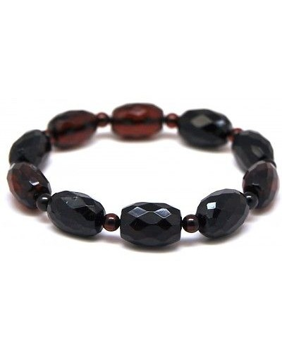 Faceted barrel  shape Baltic amber  bracelet