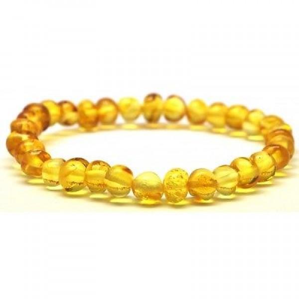 Lemon baroque beads Baltic amber bracelet