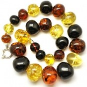 Massive multicolor baroque beads Baltic amber necklace 118 g.