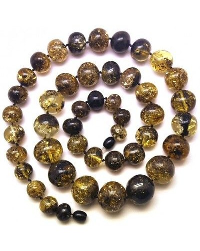 Baltic amber long baroque beads necklace