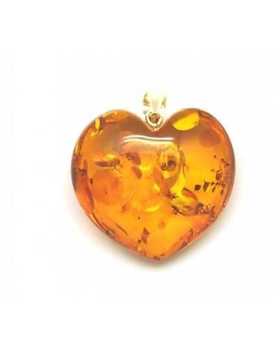 Cognac heart shape Baltic amber  pendant