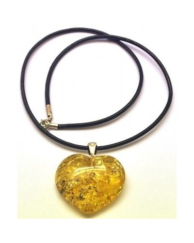 Baltic amber heart pendant with leather