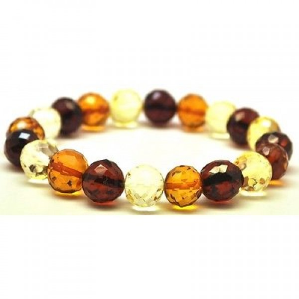 Baroque beads faceted Baltic amber bracelet-AB2412