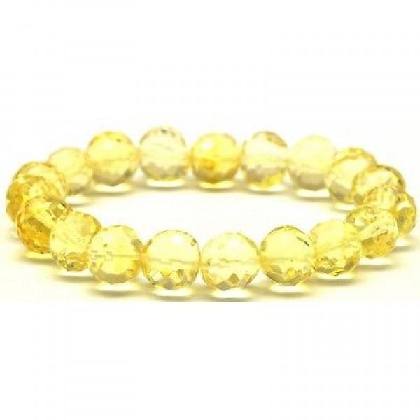 Baroque beads faceted lemon Baltic amber bracelet-AB2456
