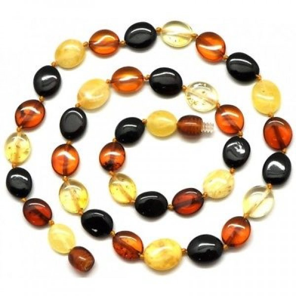 Button shape Baltic amber short necklace-AN1628