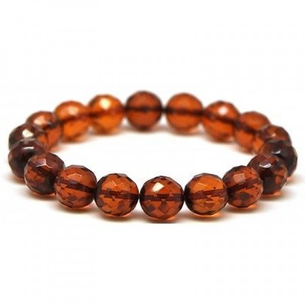 Cognac faceted round beads Baltic amber bracelet 11 mm.-RAU325