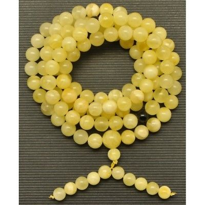 Elastic Tibetan Buddhist Mala Prayer 108 Baltic amber beads 7,2 mm