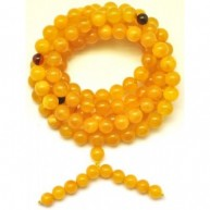 Elastic Tibetan Buddhist Mala Prayer 108 Baltic amber beads 8 mm