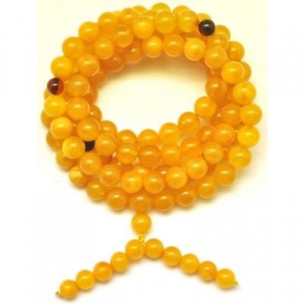 Elastic Tibetan Buddhist Mala Prayer 108 Baltic amber beads 8 mm-TBA306