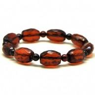 Faceted barrel shape Baltic amber bracelet-AB2155
