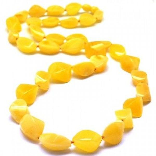 Faceted long Baltic amber yellow necklace-AN1879