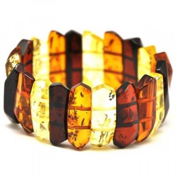 Faceted multicolor Baltic amber bracelet-AB2147