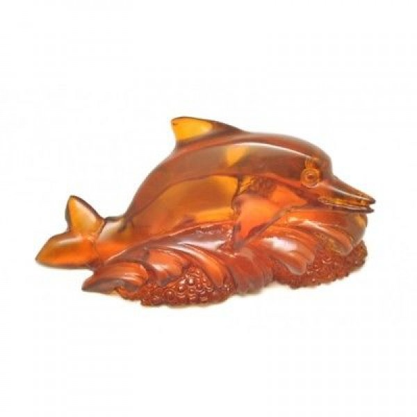 Hand carved Baltic amber figure of dolphin-AF0218
