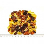 Loose drilled Baltic amber beans shape peaces 50 g.