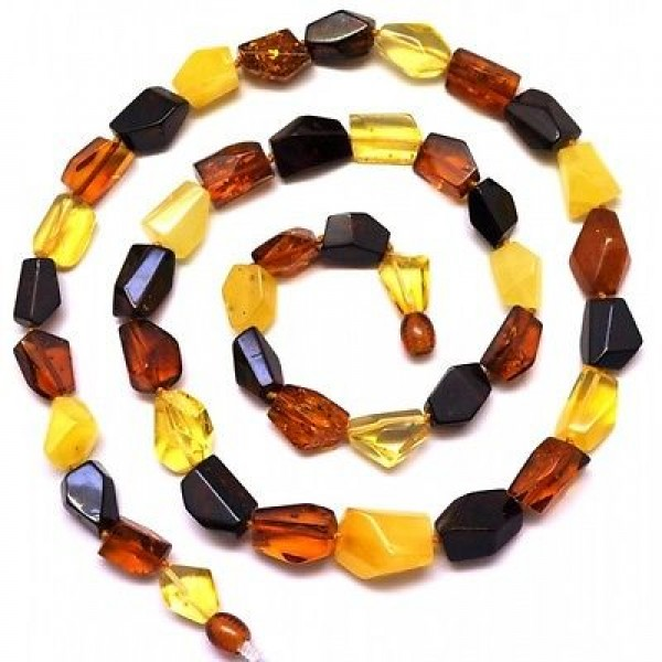 Long faceted Baltic amber necklace-AN1774