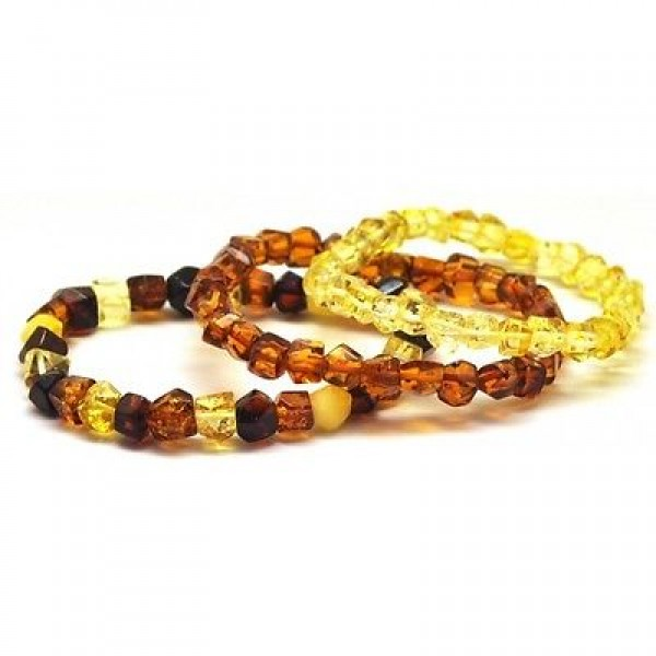 Lot of 3 faceted beads Baltic amber bracelets-AB2411