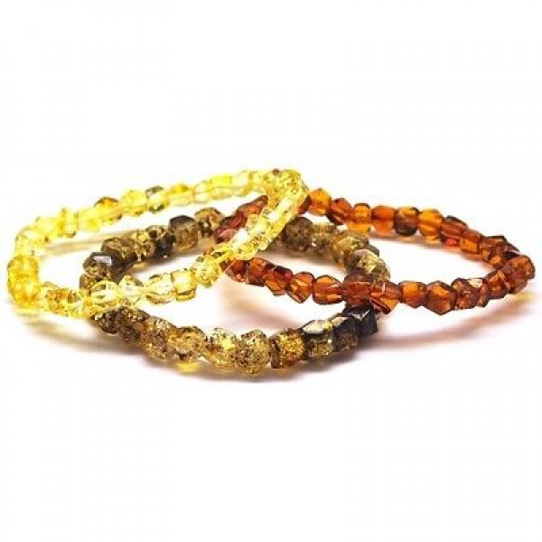 Lot of 3 faceted beads Baltic amber bracelets-AB2426
