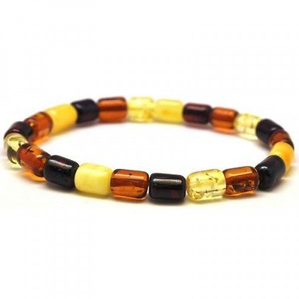 Multicolor barrel shape Baltic amber bracelet-AB2386