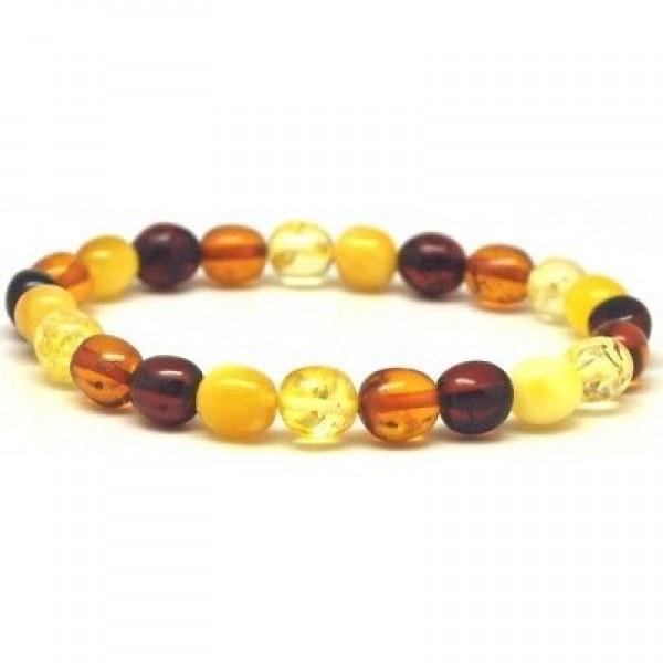 Multicolor olive shape Baltic amber bracelet-AB2502