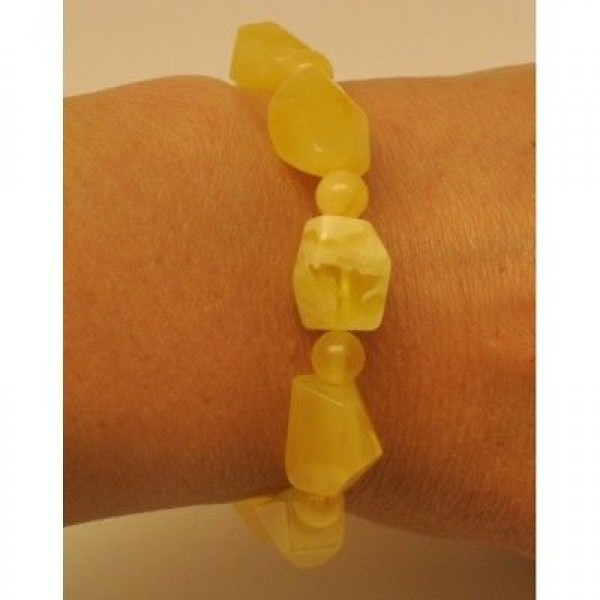 Natural faceted yellow Baltic amber bracelet-AB2560